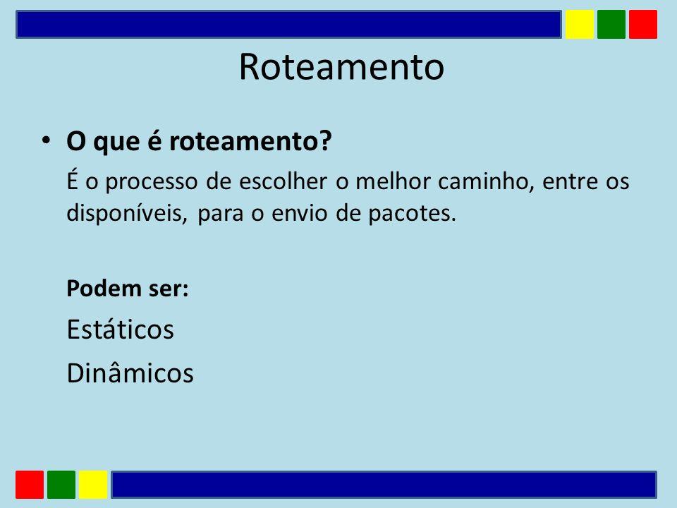 Um roteador que trabalha com tabelas de roteamento estático só pode se comunicar com outras redes se esta nova rota for adicionada manualmente na tabela de roteamento.