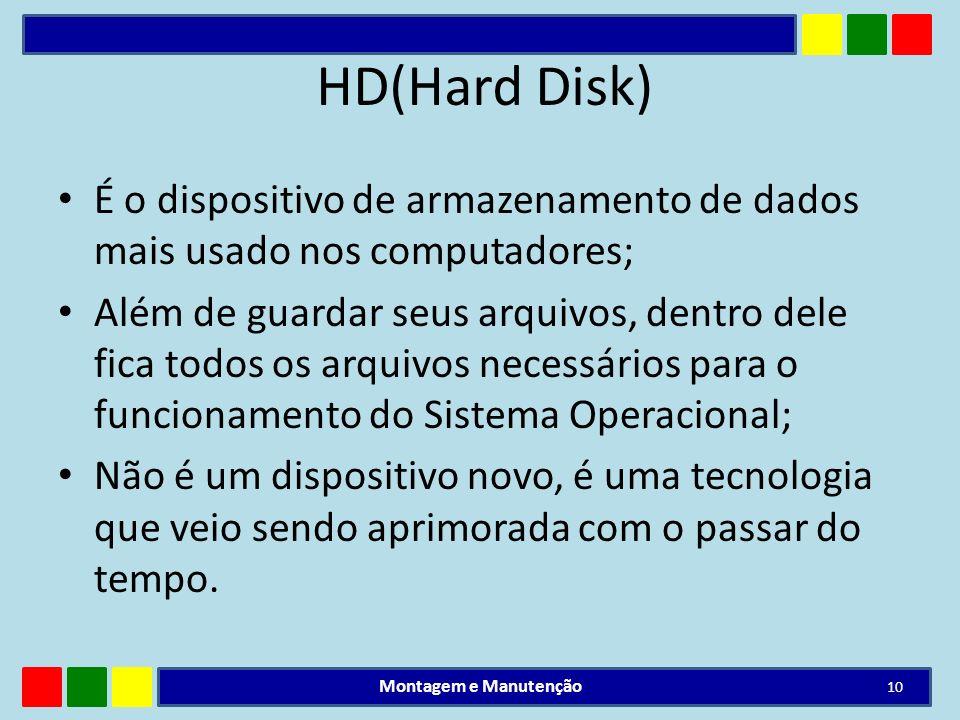 HD(Hard Disk) É o dispositivo de armazenamento de dados mais usado nos computadores; Além de guardar seus arquivos, dentro dele fica todos os arquivos