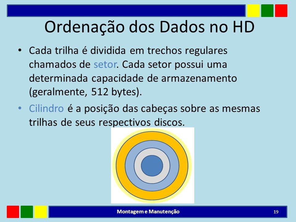 Ordenação dos Dados no HD Cada trilha é dividida em trechos regulares chamados de setor. Cada setor possui uma determinada capacidade de armazenamento