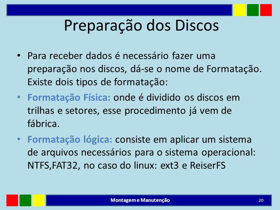 Preparação dos Discos Para receber dados é necessário fazer uma preparação nos discos, dá-se o nome de Formatação. Existe dois tipos de formatação: Fo