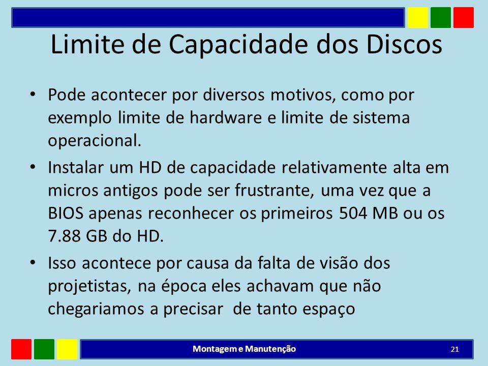 Limite de Capacidade dos Discos Pode acontecer por diversos motivos, como por exemplo limite de hardware e limite de sistema operacional. Instalar um