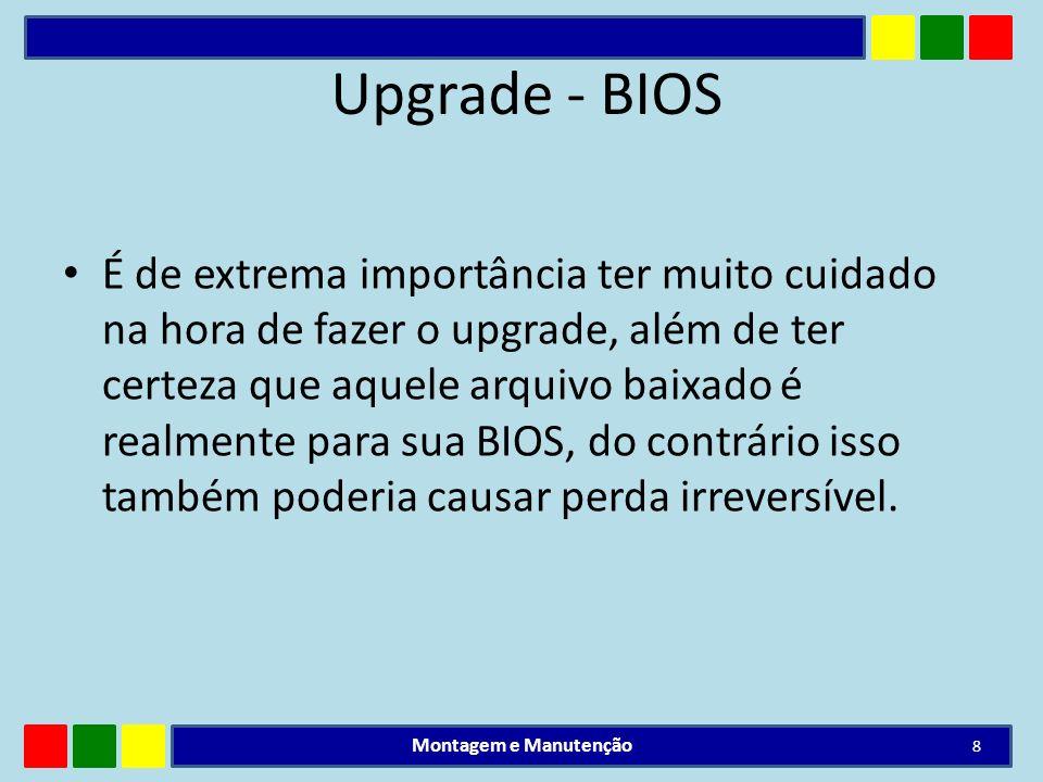 Upgrade - BIOS É de extrema importância ter muito cuidado na hora de fazer o upgrade, além de ter certeza que aquele arquivo baixado é realmente para