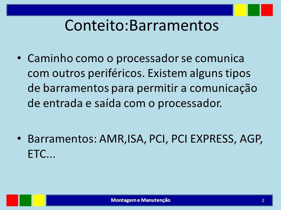 Conteito:Barramentos Caminho como o processador se comunica com outros periféricos. Existem alguns tipos de barramentos para permitir a comunicação de