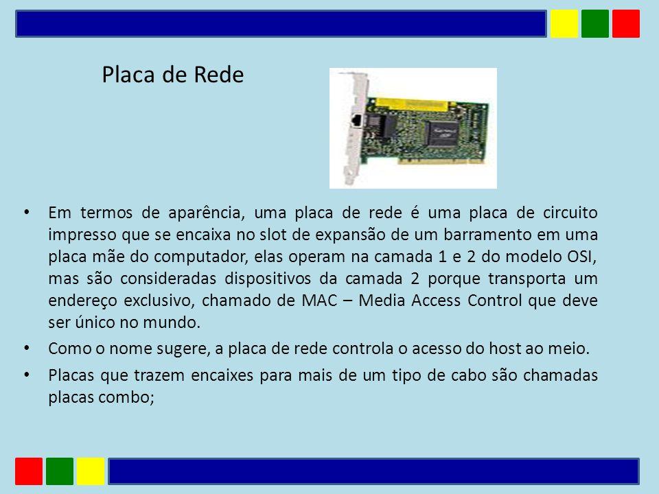 Placa de Rede Em termos de aparência, uma placa de rede é uma placa de circuito impresso que se encaixa no slot de expansão de um barramento em uma pl