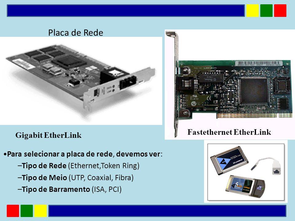 Placa de Rede Para selecionar a placa de rede, devemos ver: –Tipo de Rede (Ethernet,Token Ring) –Tipo de Meio (UTP, Coaxial, Fibra) –Tipo de Barrament