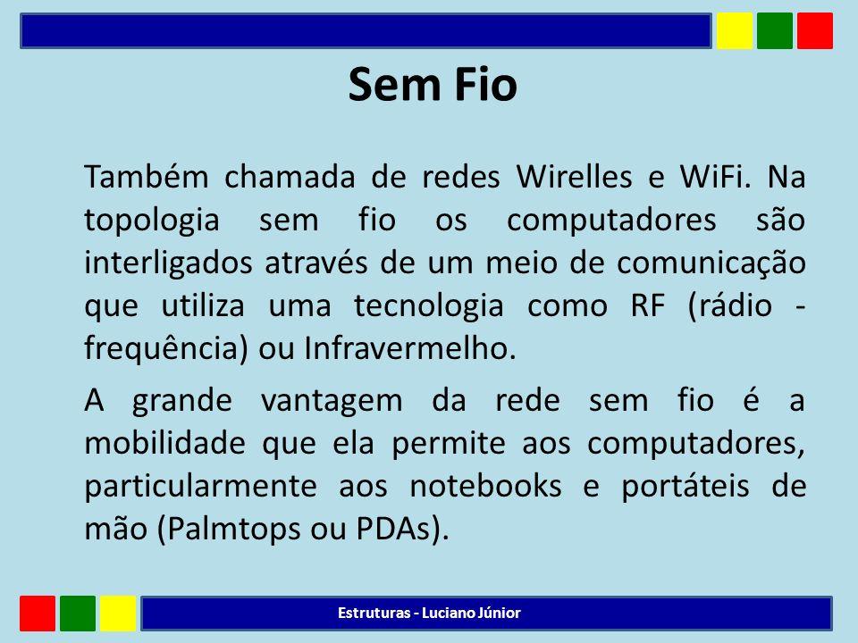 Sem Fio Também chamada de redes Wirelles e WiFi. Na topologia sem fio os computadores são interligados através de um meio de comunicação que utiliza u