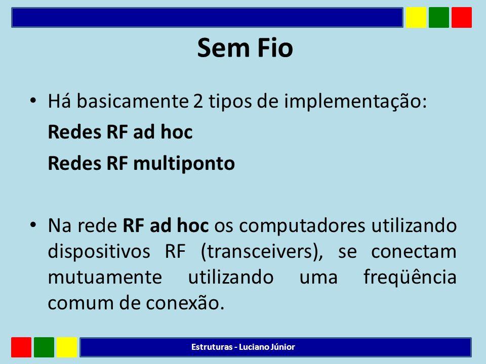 Sem Fio Há basicamente 2 tipos de implementação: Redes RF ad hoc Redes RF multiponto Na rede RF ad hoc os computadores utilizando dispositivos RF (tra