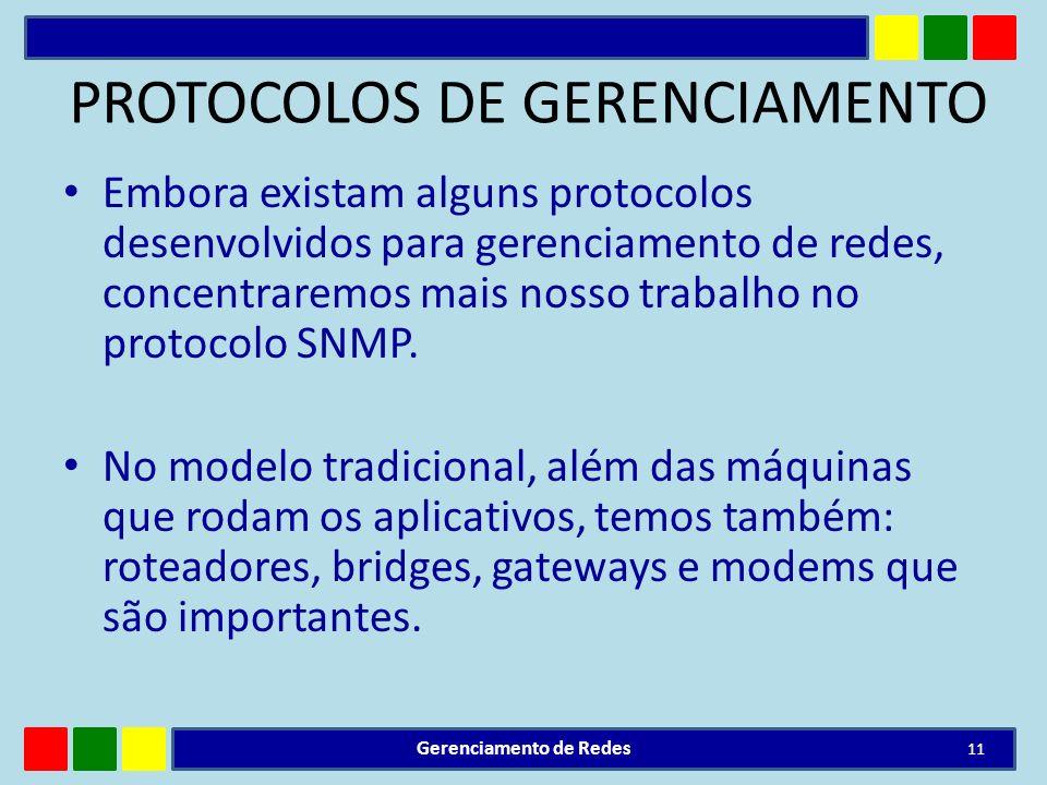 PROTOCOLOS DE GERENCIAMENTO Embora existam alguns protocolos desenvolvidos para gerenciamento de redes, concentraremos mais nosso trabalho no protocol
