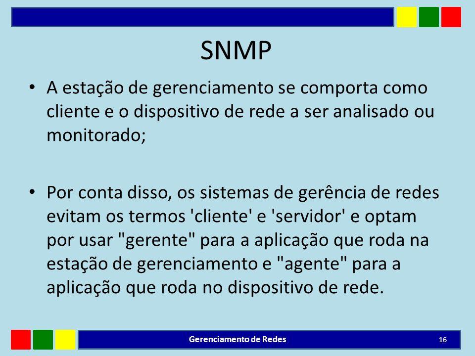 SNMP A estação de gerenciamento se comporta como cliente e o dispositivo de rede a ser analisado ou monitorado; Por conta disso, os sistemas de gerênc