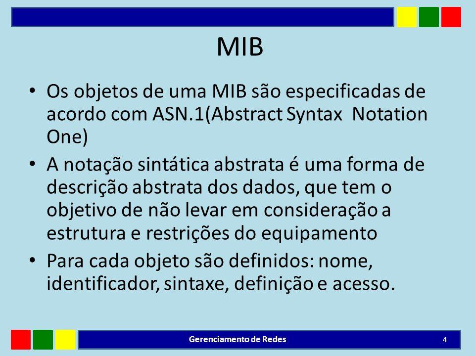 MIB Os objetos de uma MIB são especificadas de acordo com ASN.1(Abstract Syntax Notation One) A notação sintática abstrata é uma forma de descrição ab