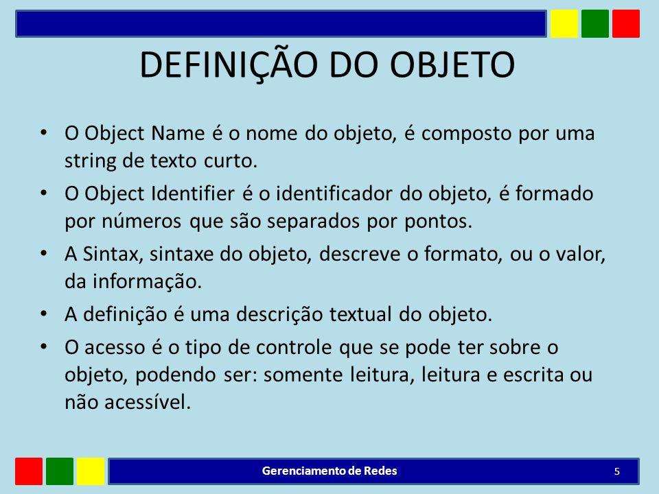 DEFINIÇÃO DO OBJETO O Object Name é o nome do objeto, é composto por uma string de texto curto. O Object Identifier é o identificador do objeto, é for