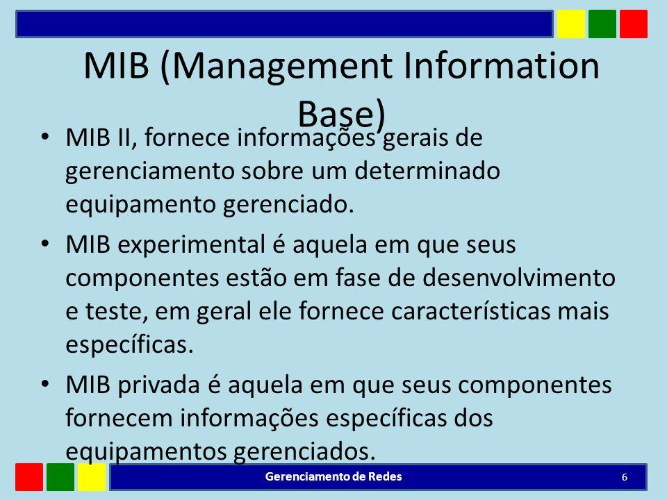 MIB II, fornece informações gerais de gerenciamento sobre um determinado equipamento gerenciado. MIB experimental é aquela em que seus componentes est