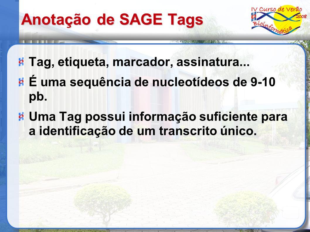 Anotação de SAGE Tags Tag, etiqueta, marcador, assinatura... É uma sequência de nucleotídeos de 9-10 pb. Uma Tag possui informação suficiente para a i