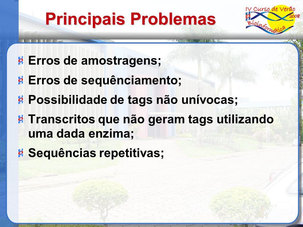 Principais Problemas Erros de amostragens; Erros de sequênciamento; Possibilidade de tags não unívocas; Transcritos que não geram tags utilizando uma