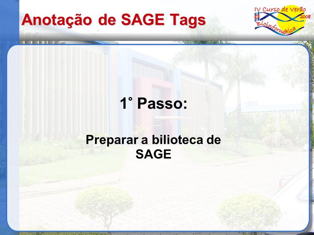 Anotação de SAGE Tags 1° Passo: Preparar a bilioteca de SAGE