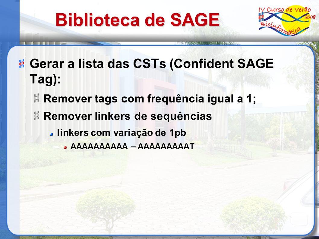 Biblioteca de SAGE Gerar a lista das CSTs (Confident SAGE Tag): Remover tags com frequência igual a 1; Remover linkers de sequências linkers com varia