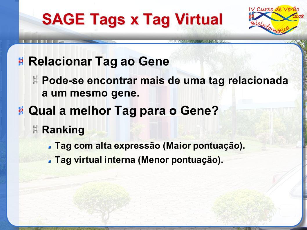 SAGE Tags x Tag Virtual Relacionar Tag ao Gene Pode-se encontrar mais de uma tag relacionada a um mesmo gene. Qual a melhor Tag para o Gene? Ranking T
