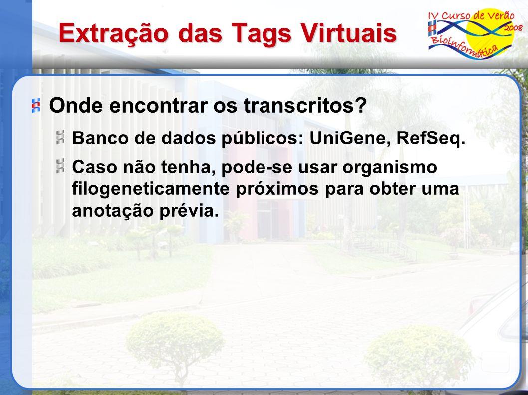 Extração das Tags Virtuais Onde encontrar os transcritos? Banco de dados públicos: UniGene, RefSeq. Caso não tenha, pode-se usar organismo filogenetic