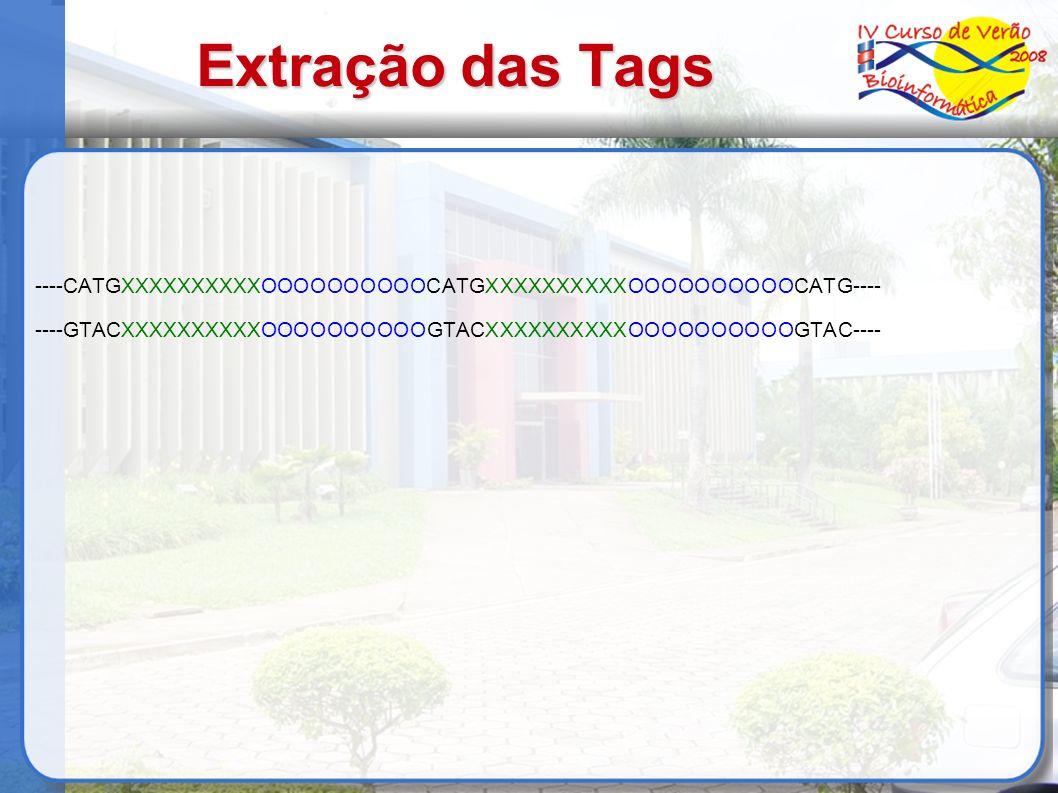 Extração das Tags ----CATGXXXXXXXXXXOOOOOOOOOOCATGXXXXXXXXXXOOOOOOOOOOCATG---- ----GTACXXXXXXXXXXOOOOOOOOOOGTACXXXXXXXXXXOOOOOOOOOOGTAC----