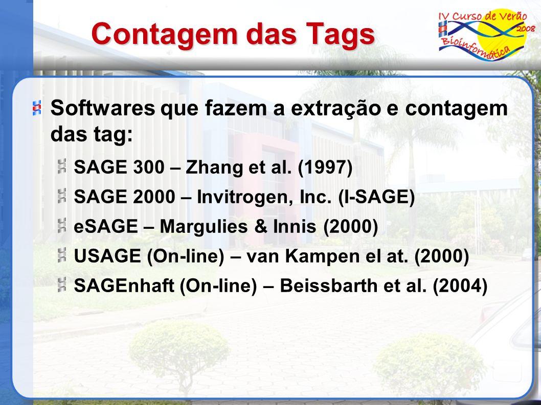 Contagem das Tags Softwares que fazem a extração e contagem das tag: SAGE 300 – Zhang et al. (1997) SAGE 2000 – Invitrogen, Inc. (I-SAGE) eSAGE – Marg