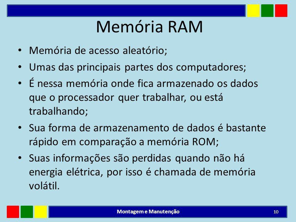 Memória RAM Memória de acesso aleatório; Umas das principais partes dos computadores; É nessa memória onde fica armazenado os dados que o processador