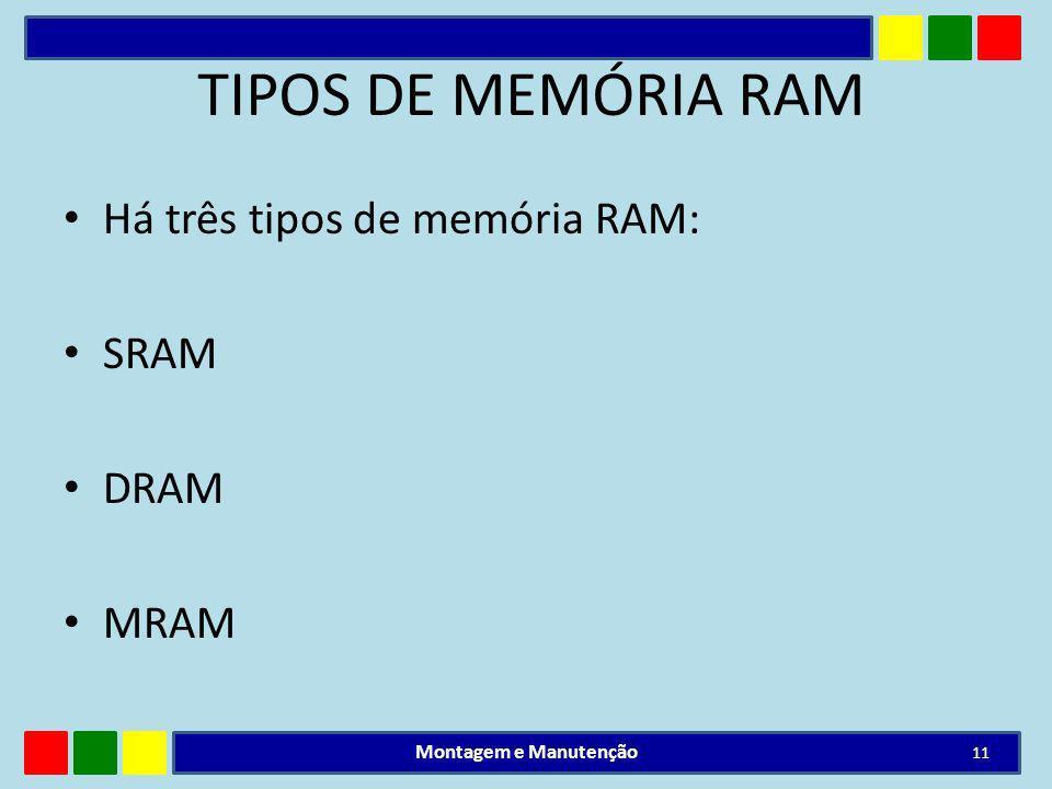 TIPOS DE MEMÓRIA RAM Há três tipos de memória RAM: SRAM DRAM MRAM Montagem e Manutenção 11