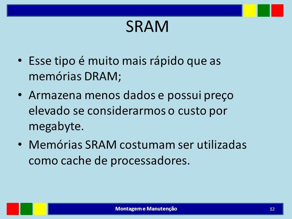 SRAM Esse tipo é muito mais rápido que as memórias DRAM; Armazena menos dados e possui preço elevado se considerarmos o custo por megabyte. Memórias S