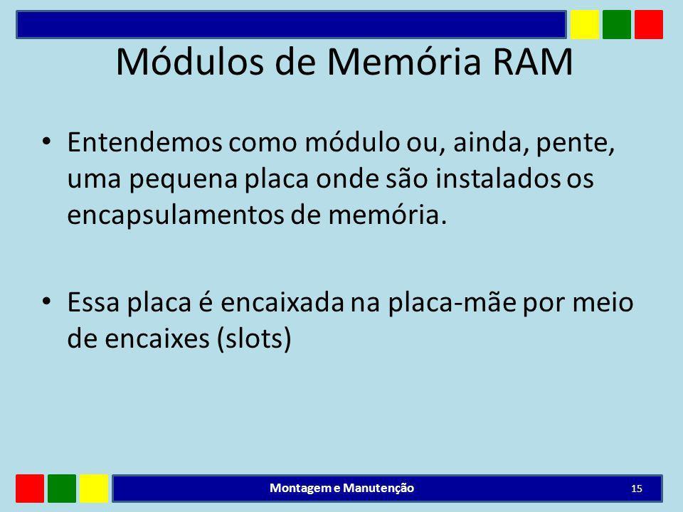 Módulos de Memória RAM Entendemos como módulo ou, ainda, pente, uma pequena placa onde são instalados os encapsulamentos de memória. Essa placa é enca