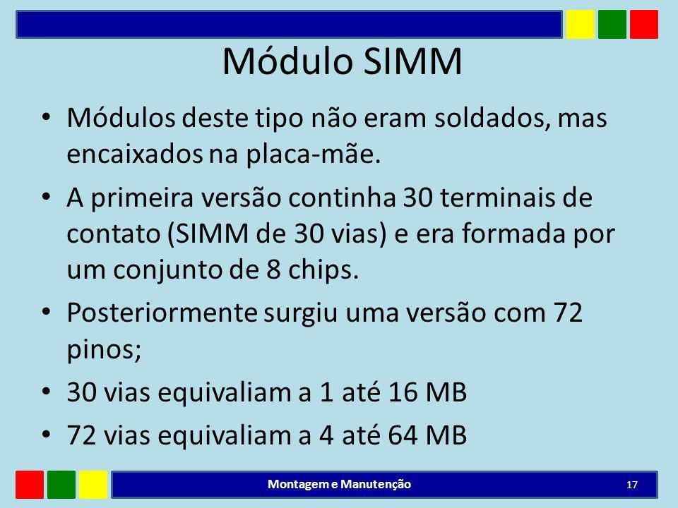 Módulo SIMM Módulos deste tipo não eram soldados, mas encaixados na placa-mãe. A primeira versão continha 30 terminais de contato (SIMM de 30 vias) e