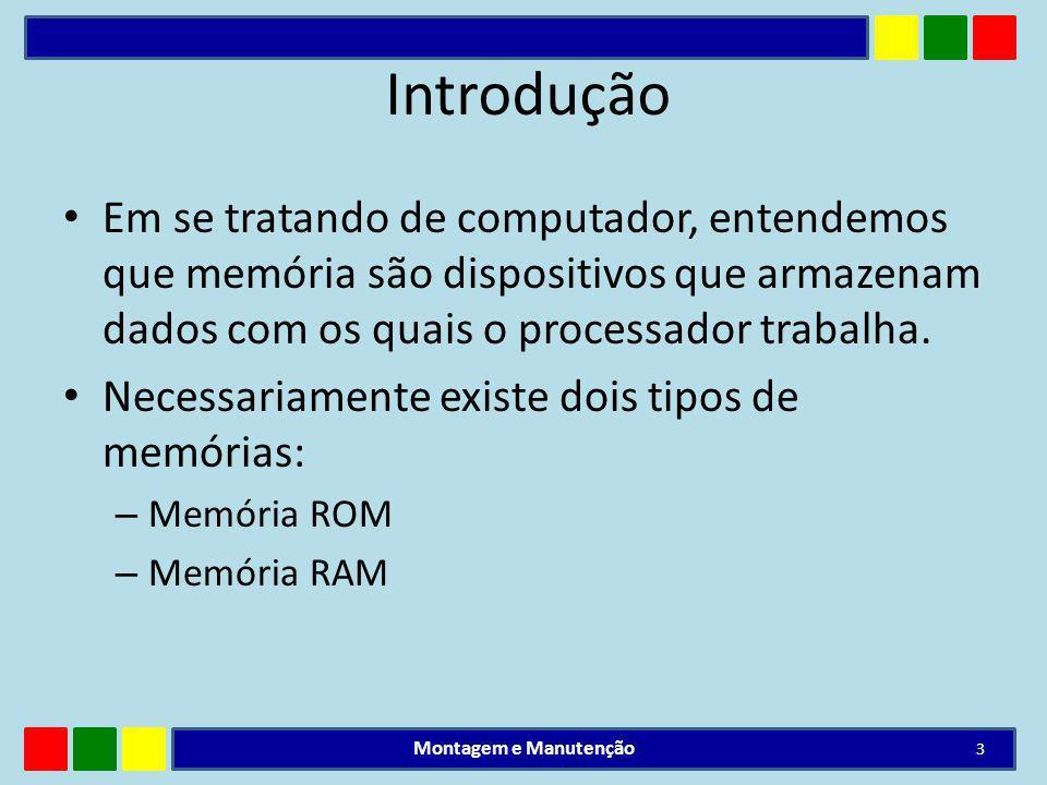 Introdução Em se tratando de computador, entendemos que memória são dispositivos que armazenam dados com os quais o processador trabalha. Necessariame