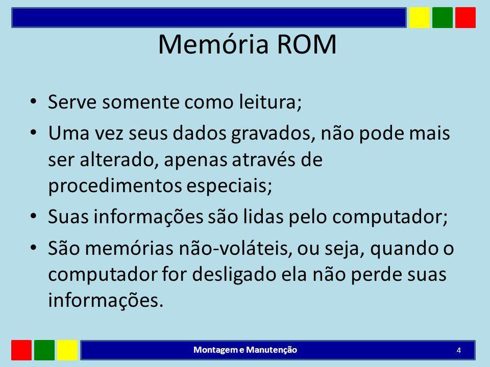 Memória ROM Serve somente como leitura; Uma vez seus dados gravados, não pode mais ser alterado, apenas através de procedimentos especiais; Suas infor