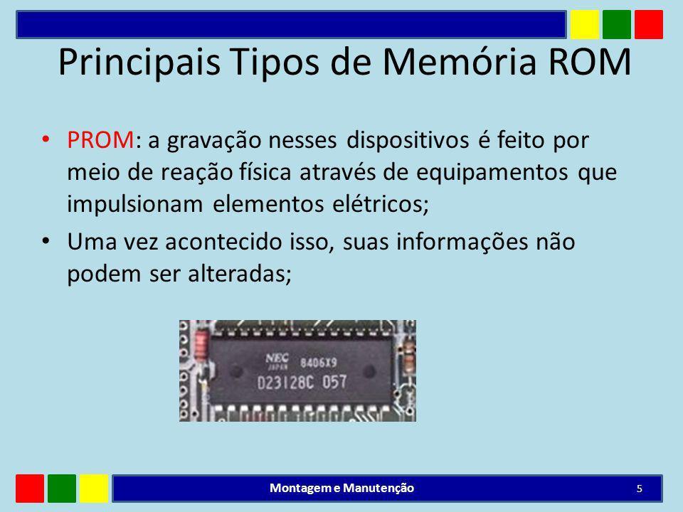 Principais Tipos de Memória ROM PROM: a gravação nesses dispositivos é feito por meio de reação física através de equipamentos que impulsionam element