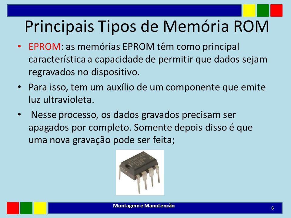Principais Tipos de Memória ROM EPROM: as memórias EPROM têm como principal característica a capacidade de permitir que dados sejam regravados no disp