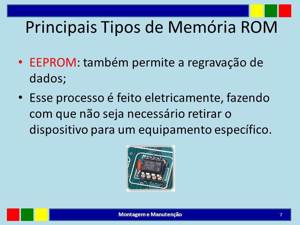 Principais Tipos de Memória ROM EEPROM: também permite a regravação de dados; Esse processo é feito eletricamente, fazendo com que não seja necessário
