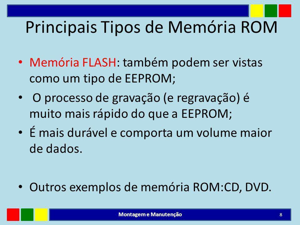 Principais Tipos de Memória ROM Memória FLASH: também podem ser vistas como um tipo de EEPROM; O processo de gravação (e regravação) é muito mais rápi