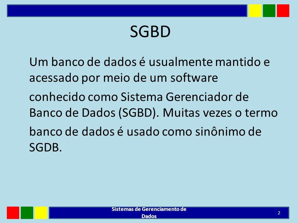 SGBD Um banco de dados é usualmente mantido e acessado por meio de um software conhecido como Sistema Gerenciador de Banco de Dados (SGBD). Muitas vez