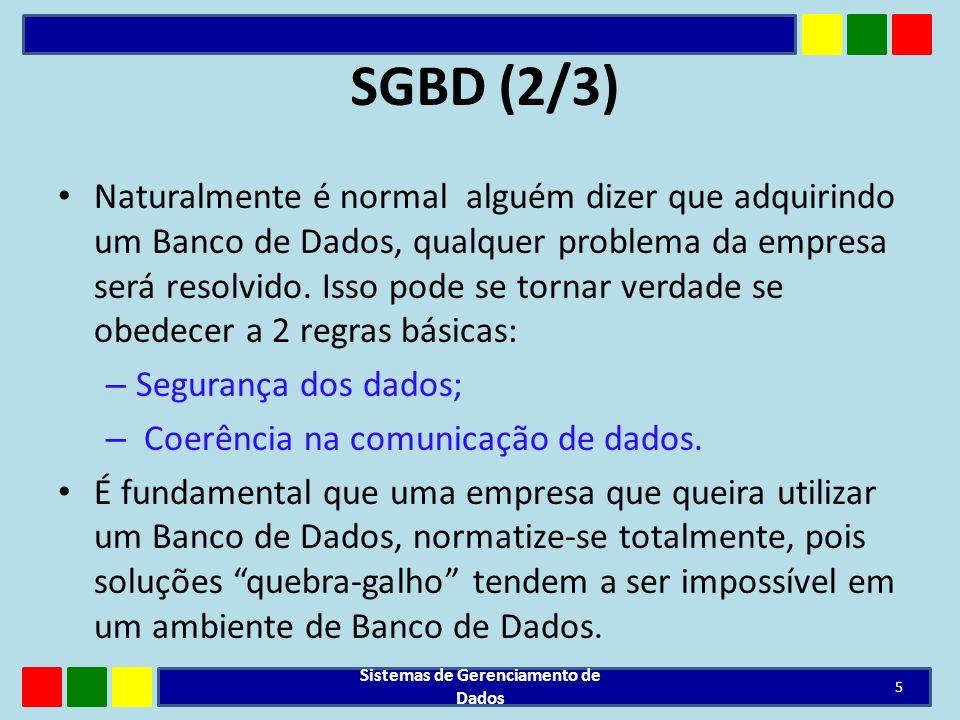 SGBD(3/3) Exemplos: Oracle, MySQL, Firebird, SQL-Server, IBM Informix, JADE, Sybase, MySQL, etc...