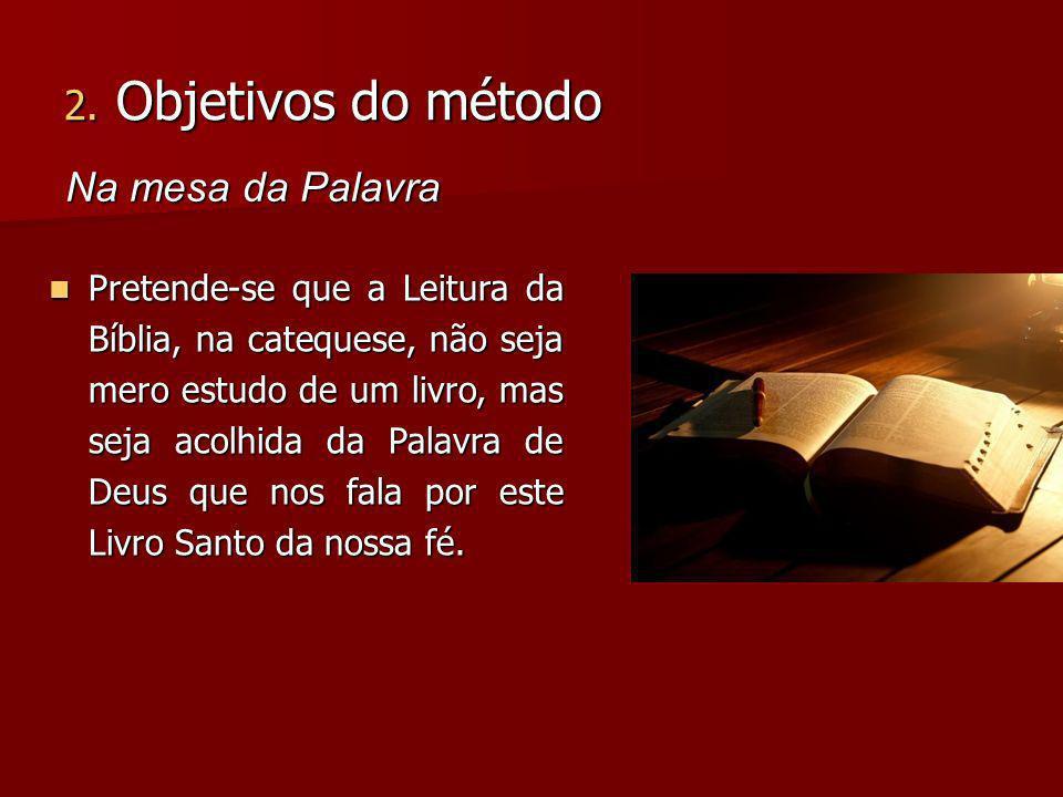 Pretende-se que a Leitura da Bíblia, na catequese, não seja mero estudo de um livro, mas seja acolhida da Palavra de Deus que nos fala por este Livro Santo da nossa fé.