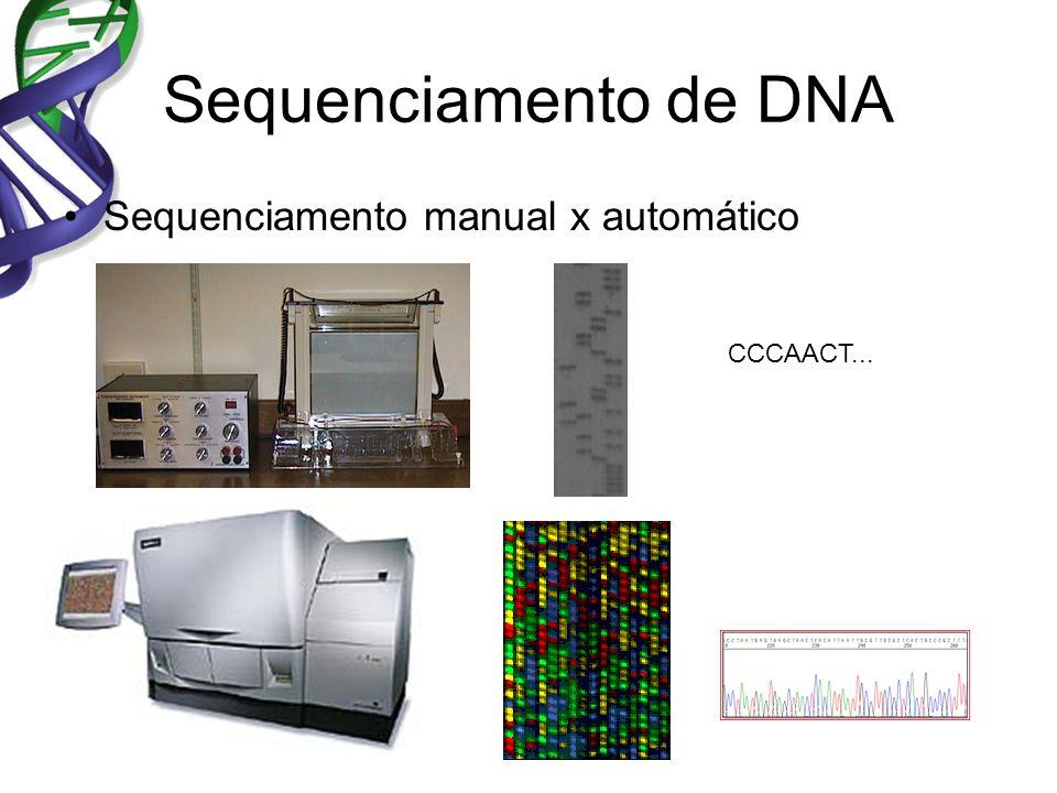 Sequenciamento de DNA Sequenciamento manual x automático CCCAACT...