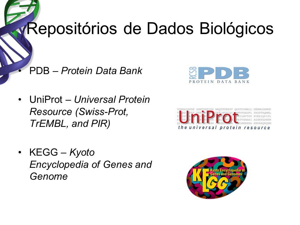 Repositórios de Dados Biológicos PDB – Protein Data Bank UniProt – Universal Protein Resource (Swiss-Prot, TrEMBL, and PIR) KEGG – Kyoto Encyclopedia