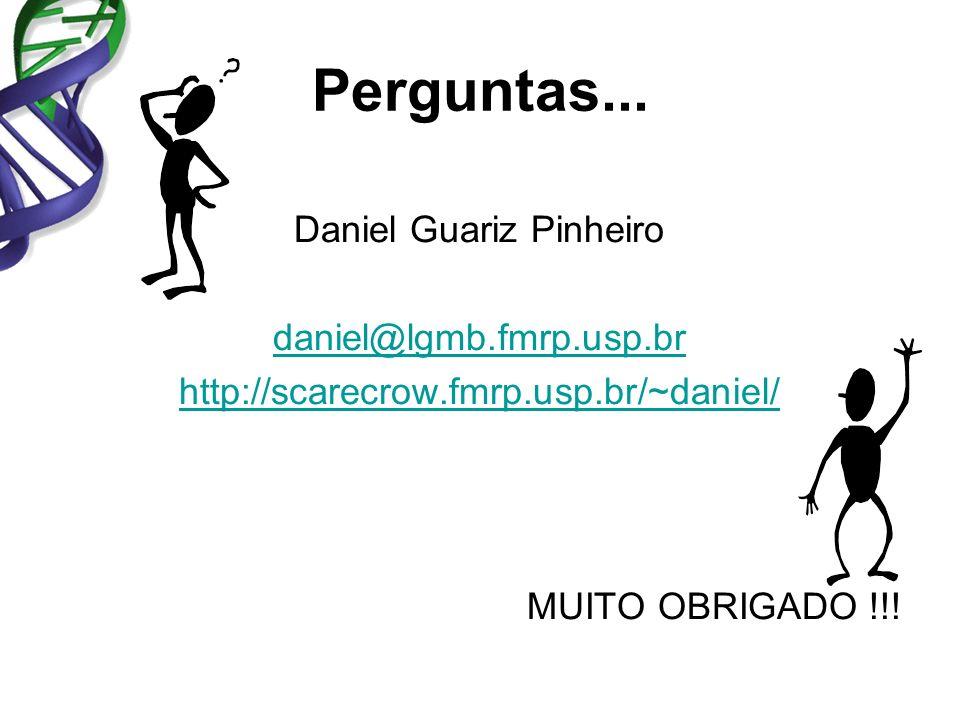 Daniel Guariz Pinheiro daniel@lgmb.fmrp.usp.br http://scarecrow.fmrp.usp.br/~daniel/ MUITO OBRIGADO !!! Perguntas...
