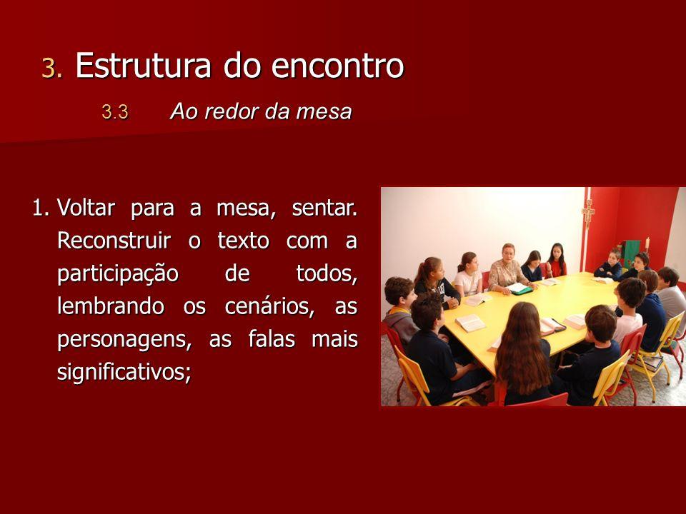 1.Voltar para a mesa, sentar. Reconstruir o texto com a participação de todos, lembrando os cenários, as personagens, as falas mais significativos; 3.