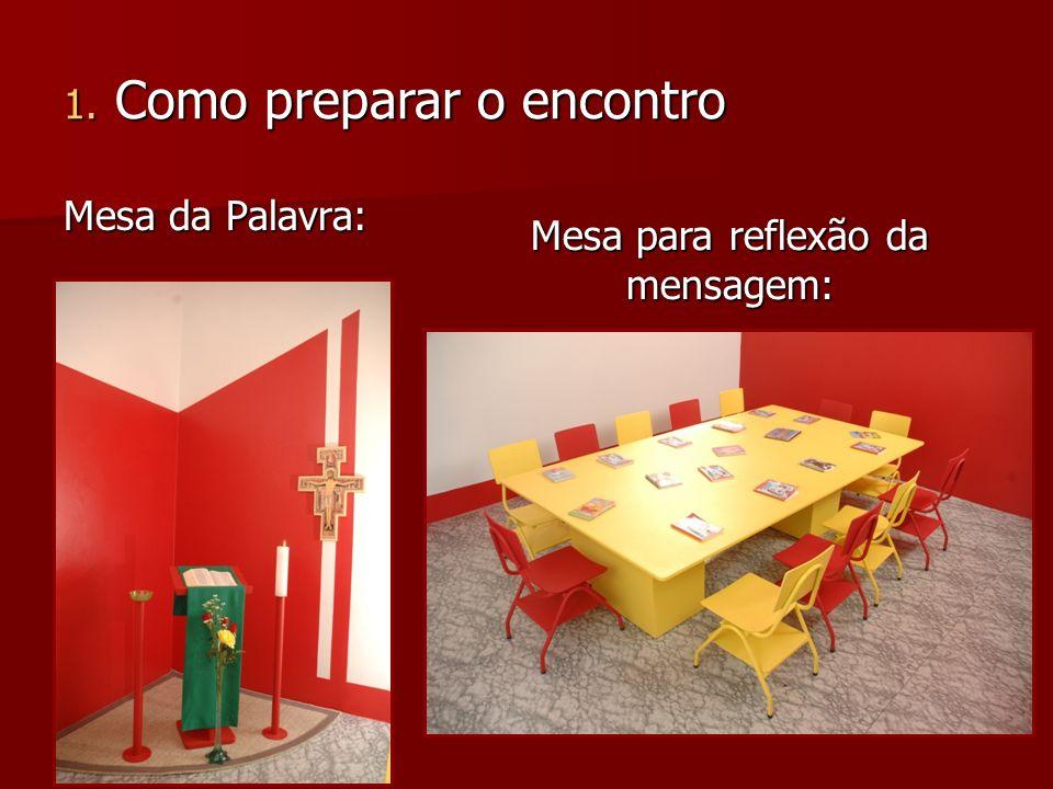 Mesa da Palavra: Mesa para reflexão da mensagem: 1. Como preparar o encontro