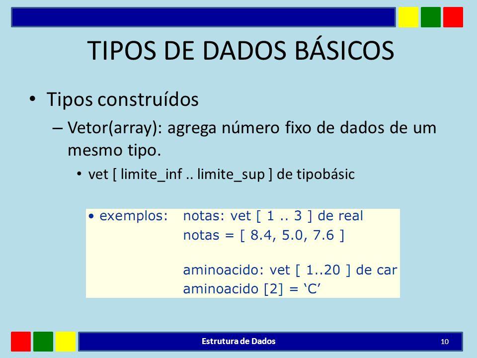 TIPOS DE DADOS BÁSICOS Tipos construídos – Vetor(array): agrega número fixo de dados de um mesmo tipo. vet [ limite_inf.. limite_sup ] de tipobásic Es