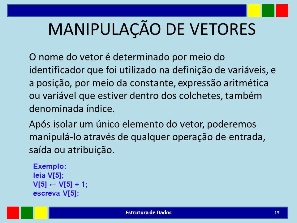MANIPULAÇÃO DE VETORES O nome do vetor é determinado por meio do identificador que foi utilizado na definição de variáveis, e a posição, por meio da c