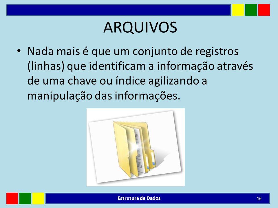 ARQUIVOS Nada mais é que um conjunto de registros (linhas) que identificam a informação através de uma chave ou índice agilizando a manipulação das in