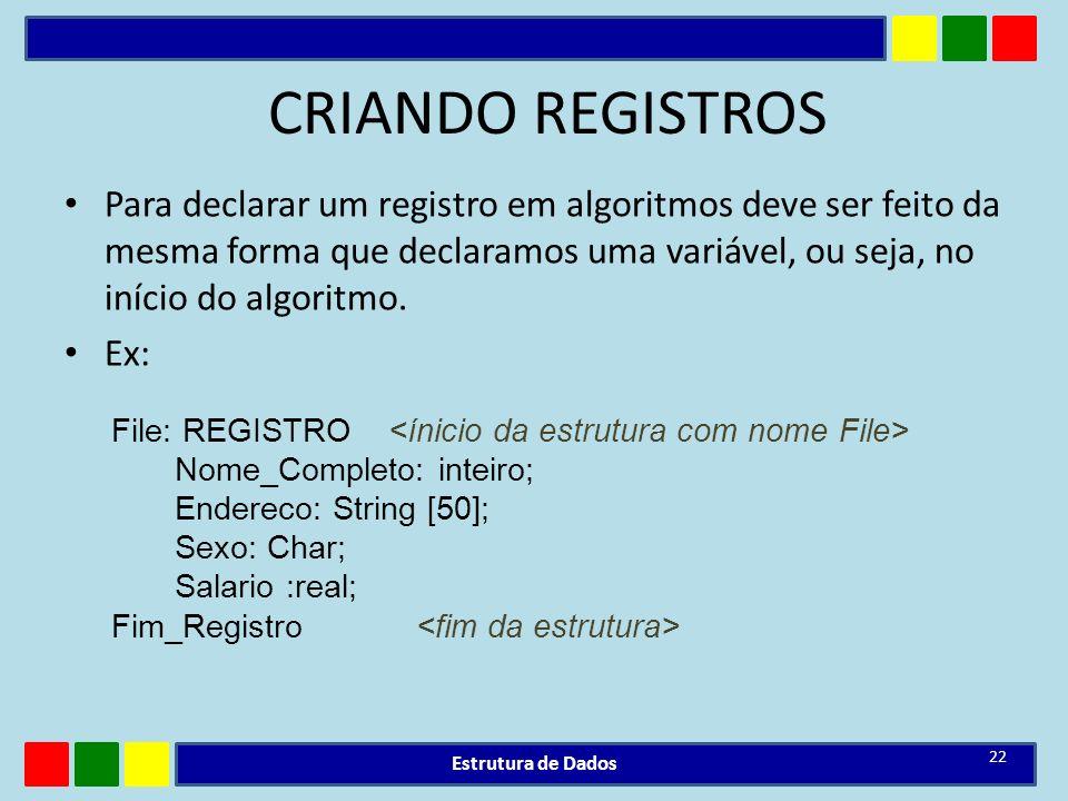 CRIANDO REGISTROS Para declarar um registro em algoritmos deve ser feito da mesma forma que declaramos uma variável, ou seja, no início do algoritmo.