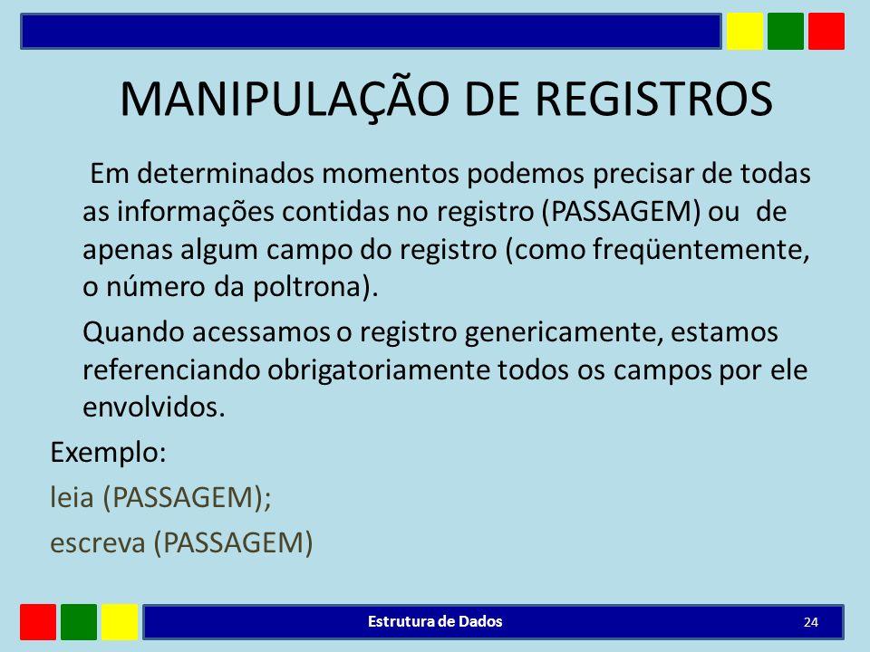 MANIPULAÇÃO DE REGISTROS Em determinados momentos podemos precisar de todas as informações contidas no registro (PASSAGEM) ou de apenas algum campo do