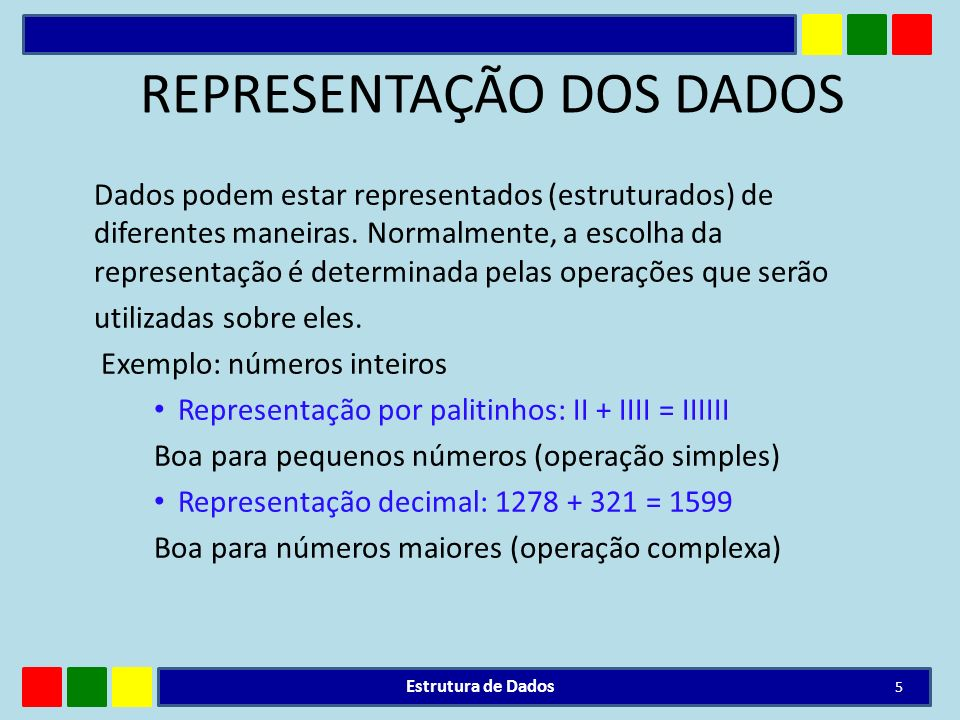 REPRESENTAÇÃO DOS DADOS Dados podem estar representados (estruturados) de diferentes maneiras. Normalmente, a escolha da representação é determinada p