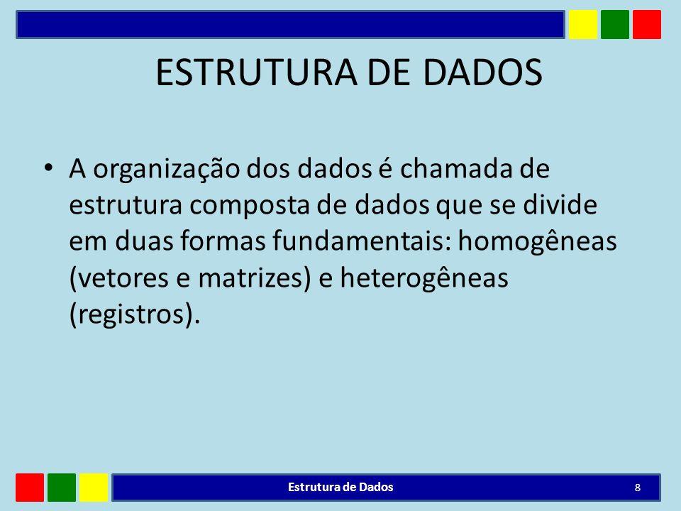 TIPOS DE ESTRUTURAS DE DADOS As estruturas de dados são chamadas tipos de dados compostos que dividem-se em homogêneos (vetores e matrizes) e heterogêneos (registros).